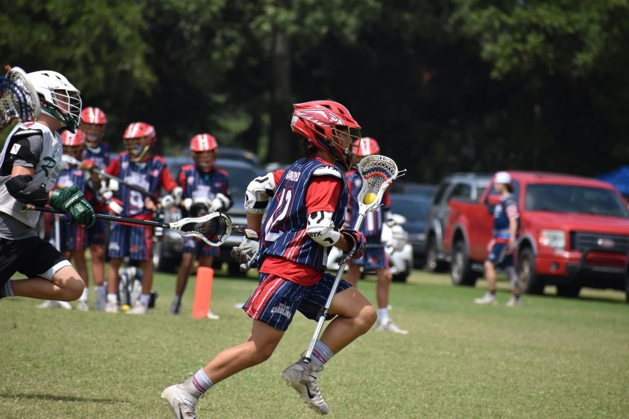 lacrosse player in the game