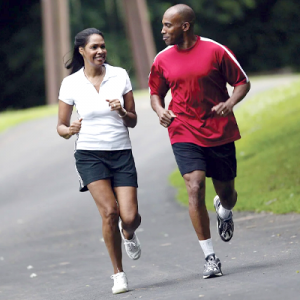 couple jogging to match eating habits