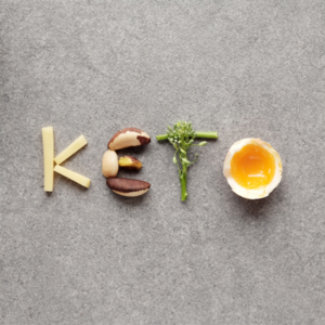 keto food spelling out the word keto