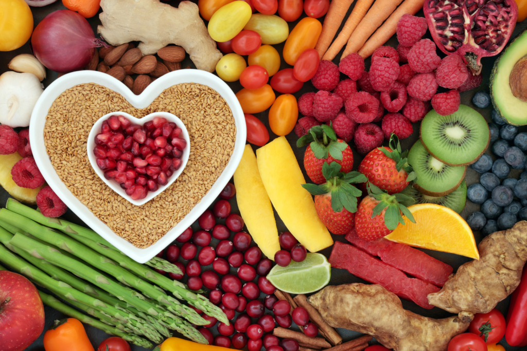 heart health foods in heart shaped dish