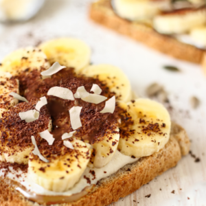 mothers day breakfast of bananas and cinnamon on healthy toast