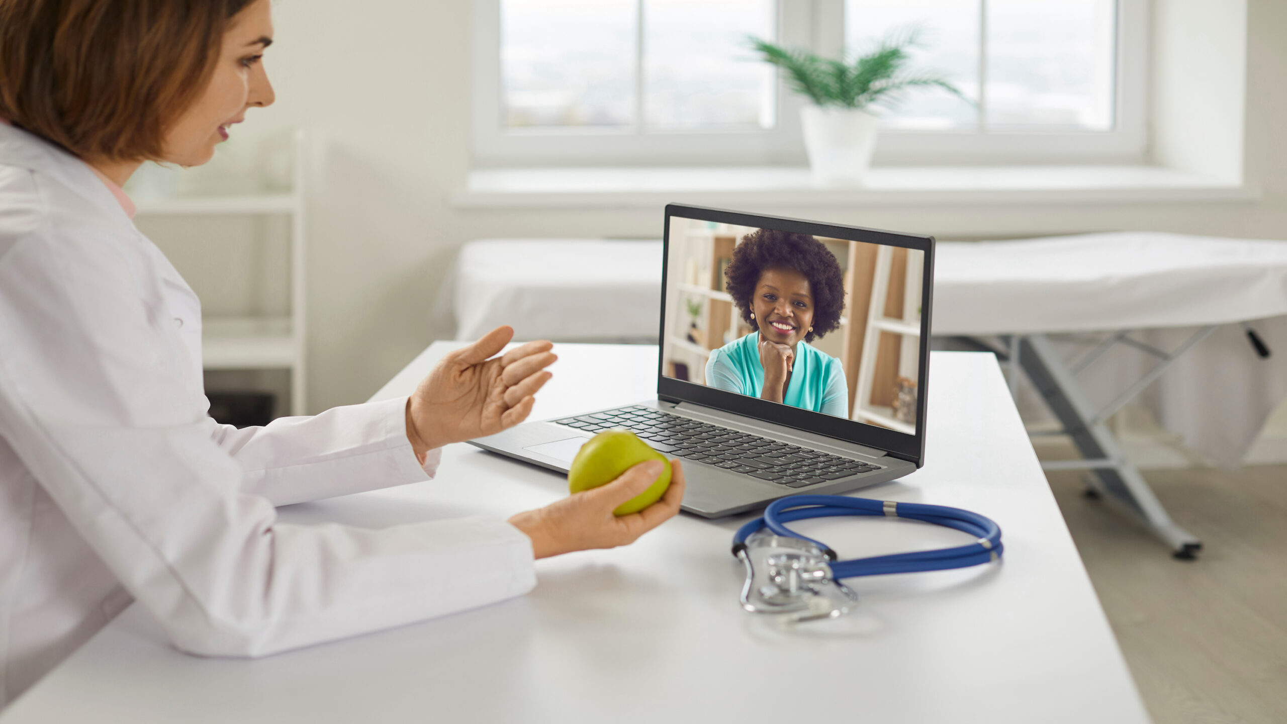 Women working with dietitian over laptop